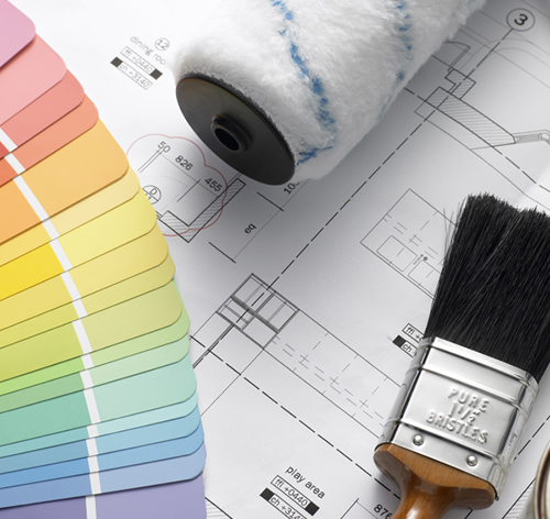 paint supplies and blueprints